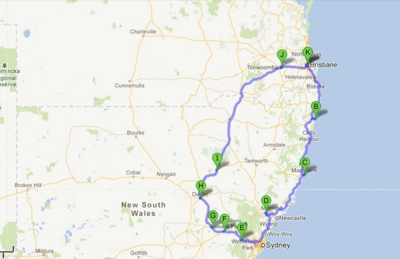 New South Wales route map