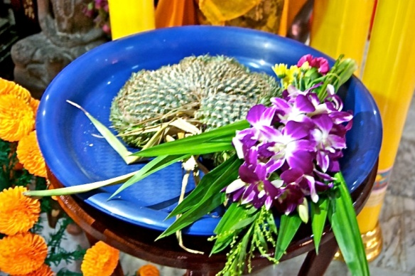Pineapple and flower offering at the monks temple